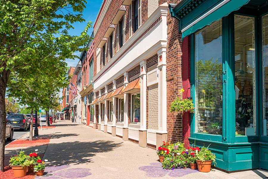 Business Insurance - Row of Small Businesses Along Main Street